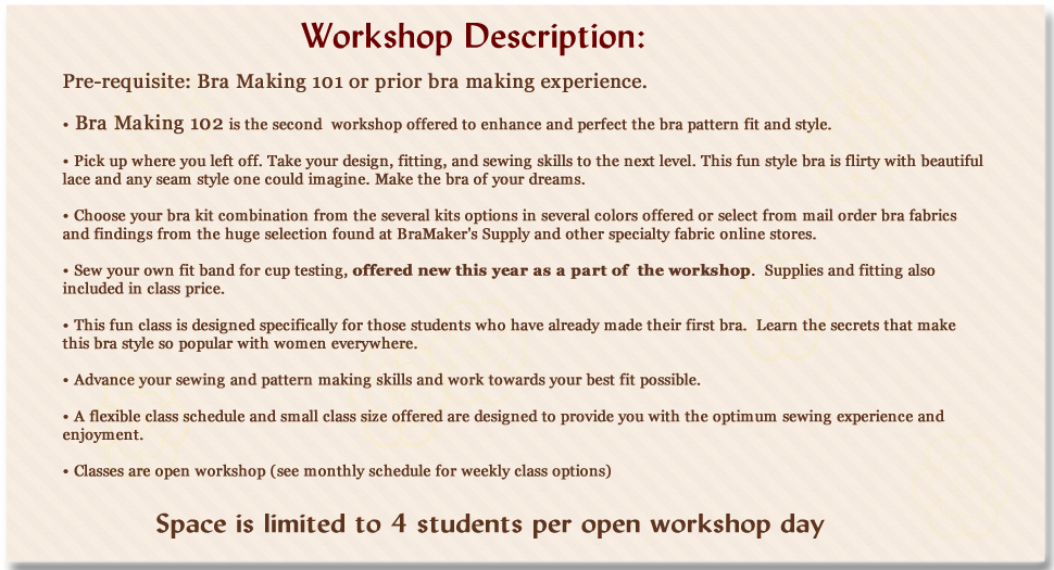 bra making 102 workshop information
